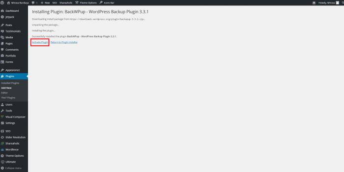 03 Activare plugin BackWPup